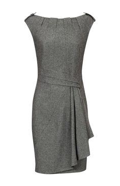 Karen Millen Twisted Tweed Dress Grey ,fashion Karen Millen Solid Color Dresses outlet