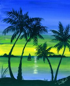tropical colorful acrylic painting