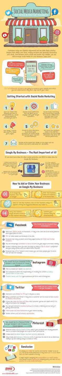 Social media marketing tips for local retail: If you have a brick-and-mortar store, check this infographic to optimize your social media presence. #marketingtips #socialmediamarketing #socialmediamarketingtips