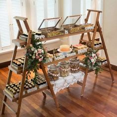 66 super sweet wedding dessert display and table ideas 9 Wedding Desserts, Wedding Decorations, Deco Buffet, Deco Champetre, Flower Bar, Catering Display, Wedding Catering, Catering Logo, Wedding Venues