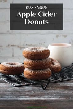 Soft, fluffy, moist Baked Apple Cider Donuts with all the flavors of fall. So easy to make - ready in just about 20 minutes!! Plus, they're dairy free, egg free, and oil free!! Trust me, you are going to love these! #vegan #donuts #doughnuts #dairyfree #oilfree No Bake Desserts, Healthy Desserts, Vegan Breakfast Recipes, Vegan Recipes, Brunch Recipes, Vegan Food, Plant Based Breakfast, Apple Cider Donuts, Delicious Donuts