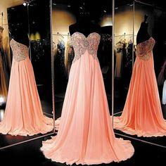 Long Chiffon Coral Prom Dress Elegant Prom Dresses Elegant Prom Dress Custom…