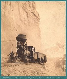 The DSP&P Railroad Locomotive 51 on the West side of Alpine Pass at the Palisades during 1884