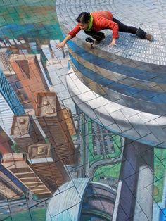 CN Tower 3D chalk pavement art by Tracy Lee Stum.