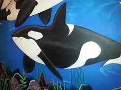 The mural features two adult Orca Whales blue waters with their calves. I could totally paint this is Gideon's room :) Underwater Sea, Orcas, Killer Whales, Colorful Paintings, Mural Painting, Wall Murals, Calves, Scene, Swimming