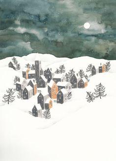 Illustration by IsaBella. Illustration Noel, Winter Illustration, Christmas Illustration, Watercolor Illustration, Digital Illustration, Illustrations, Christmas Drawing, Christmas Art, Winter Scenery