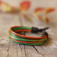 Multistrand mens bracelet unisex green orange by Naryajewelry