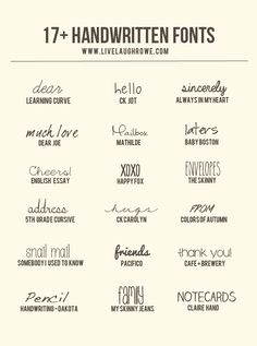 17+ Free Handwritten Fonts from livelaughrowe.com
