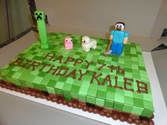 Minecraft Birthday Cake | Marble cake with chocolate mousse filling. Decorated in fondant and ...