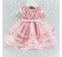 Vestido de Festa para Bebê Rosa Petit Cherie Tule e Pérolas Bibi