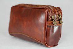 Genuine Real Italian Leather Dopp Travel Toiletry Kit Bag CarryAll Vintage Brown #Handmade #ToiletryBag