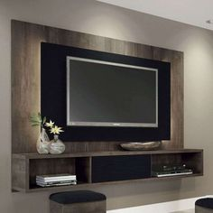 Painel para TV Lume Terrarum Nature e Preto HB Móveis Tv Wall Design, House Design, Tv Wanddekor, Modern Tv Units, Tv Wall Decor, Wall Tv, Living Room Tv Unit Designs, Tv Panel, Framed Tv
