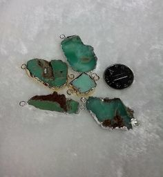 Wholesale 5pcs/lot 2 Loop Versions Gold Plated and Silver Plated Edge Natural Australian Green Jade Pendant $33.70