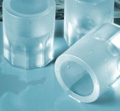 Shot glasses made of ice with a shot glass tray mold.