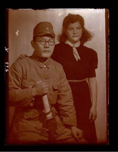 Portrait of a Japanese soldier and a Jewish woman,Shangai.
