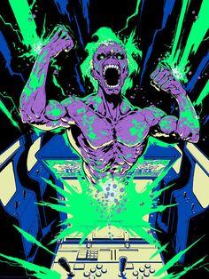 "Iron Maiden inspired silk screen print, ""Speed of Light"" by Santi Casas"