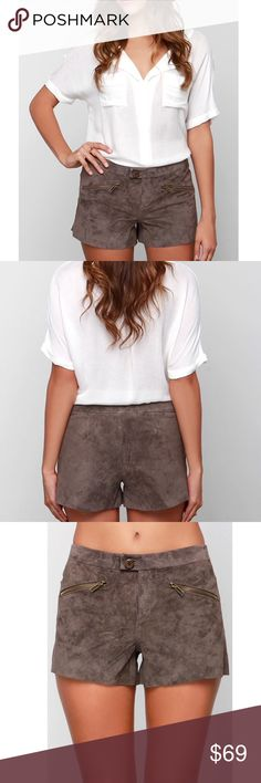 BB Dakota Leather ShortsHOST PICK BB Dakota Flory Brown Suede Leather Shorts! These genuine suede leather shorts are wonderfully soft with cool front antiqued brass zipper pockets topping off their short cut. Double button closure with hidden zip fly. Unlined. Self: 100% Leather. Professional Leather Clean Only. BB Dakota Shorts