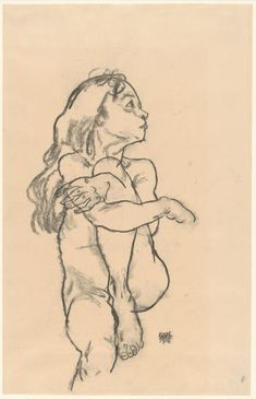 Egon Schiele – Seated Nude Girl Clasping Her Left Knee, Charcoal on paper Life Drawing, Figure Drawing, Painting & Drawing, Egon Schiele Drawings, Art Sketches, Art Drawings, Plakat Design, Alphonse Mucha, Famous Art
