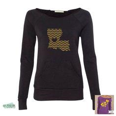 Black and Gold Chevron State Love Sweatshirt www.HeyPenelopeDesign.etsy.com