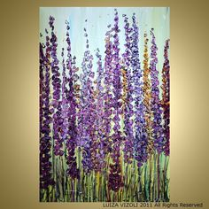 LUPINE FLOWERS Original Abstract Modern Impressionist Floral Palette Knife Large Painting 36x24 --see store for HUGE sale