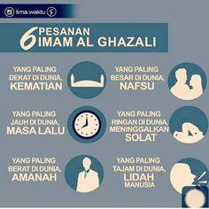 6 Pesanan Imam Al Ghazali Pray Quotes, Hadith Quotes, Quran Quotes Inspirational, Islamic Love Quotes, Muslim Quotes, Words Quotes, Hijab Quotes, Reminder Quotes, Self Reminder