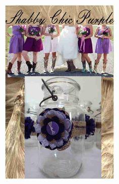8 Primitive Shabby Chic Burlap Purple Cowgirl Mason Jar Wedding Decorations F6 #BurlapBrides