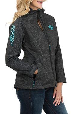 HOOey Women's Dark Grey and Teal Softshell Jacket | Cavender's