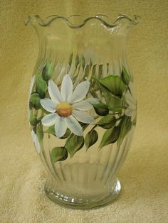 Hand Painted Glass Vase with White Daisy by NaturesPetals on Etsy, $25.00