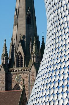 ✯ Contrasts - Selfridges Building Bull Ring shopping mall with St Martins Church Spire - Birmingham West Midlands, England