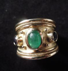 Elizabeth Gage Emerald and Sapphire and Emerald Ring 18ct Yellow Gold Ring | eBay