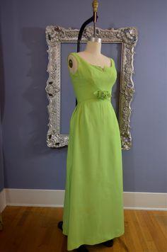 1960s green maxi dress 60s party dress Size medium by melsvanity, $88.00