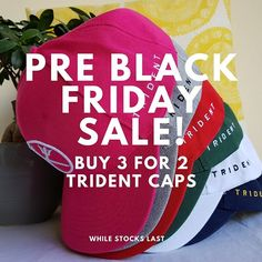 Buy 3 Trident caps and only pay for While stocks last Pre Black Friday Sales, 3 For 2, Trident, Cap, Stuff To Buy, Baseball Hat
