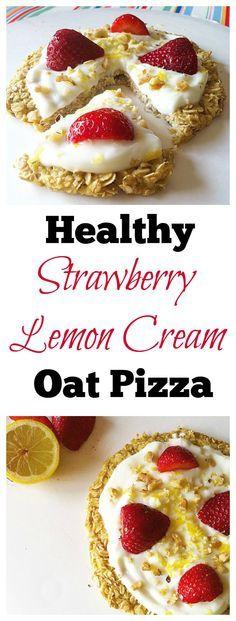 Make this #healthy Strawberry-Lemon Cream Oat Pizza for an amazing breakfast! #vegan #glutenfree