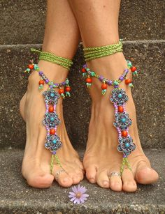 OASIS BAREFOOT sandals WEDDING barefoot Sandals slave Anklets crochet Sandals sole less shoes crochet anklets Blue antique flowers. $99.00, via Etsy.