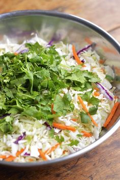This Mexican cole slaw is lightened up with fresh lime juice and cilantro and takes about 5 minutes to make #summersoiree #vegetarian #dairyfree