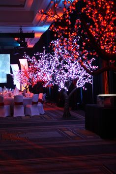 LED Cherry Blossom Trees lining the perimeter for a Fire and Ice themed event  #FLeventdecor