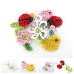 Crochet Coasters Garland Bunting Pattern Bowls Placemats Birdhouses, Wedding and Nursery Decoration. Attractive crochet items to your Sweet Home Crochet Ladybug, Crochet Birds, Crochet Baby, Free Crochet, Crochet Applique Patterns Free, Sewing Appliques, Embroidery Applique, Crochet Appliques, Crochet Embellishments
