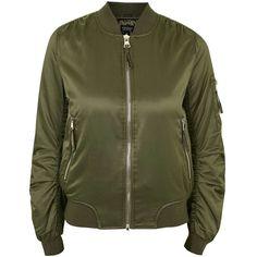 TopShop ma1 Bomber Jacket ($80) ❤ liked on Polyvore featuring outerwear, jackets, bomber jacket, bomber style jacket, utility jacket, topshop jacket and green jacket