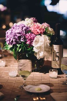 wine themed weddings | pretty wine themed centerpiece | Wine Themed Wedding Ideas