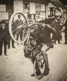 Here's the oldest photo we've encountered of a wheelie, in It's a Puch twin-cylinder racer at Semmering, Austria, found in 'Das Grosse Puch Buch' by Fritz Ehn. Vintage Motorcycles, Harley Davidson Motorcycles, Harley Davison, Old Photos, Twins, Old Things, Bicycle, Iron, Super 4