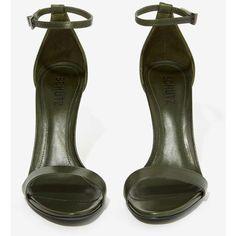 Schutz Cadey-Lee Leather Heel ($119) ❤ liked on Polyvore featuring shoes, sandals, heels, обувь, scarpe, schutz sandals, ankle strap sandals, open toe sandals, high heel stilettos and ankle strap heel sandals