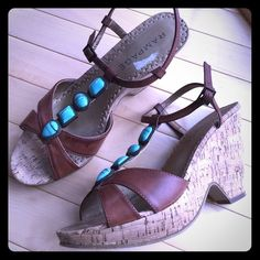 ✨RAMPAGE wedge sandals RAMPAGE boho chic cork wedges with turquoise accents.  Gently used - good condition. Rampage Shoes Wedges