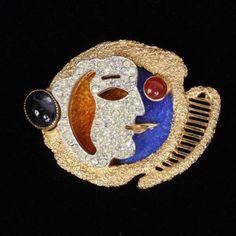 113. Vendome Georges Braque Face Pin; pave with foil enamel. Lot 113