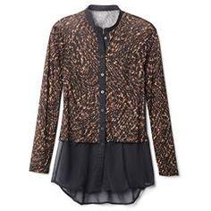 Leopard-Print Button-Front Tunic - Misses
