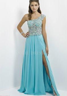 One Shoulder Chiffon A line Illusion Back Natural Waist Floor Length Prom Dresses