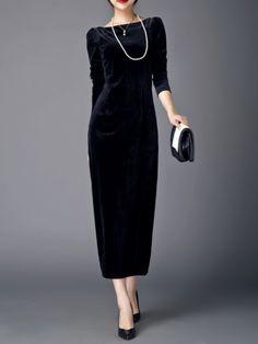 Shop Maxi Dresses - Black Velvet Long Sleeve Plain Maxi Dress online. Discover unique designers fashion at StyleWe.com.