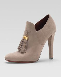 Gucci Suede Tassel Loafer Bootie - Neiman Marcus  I would so buy these if I could stand up in them.