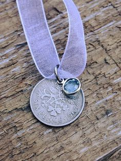 wedding bouquet charm British Sixpence - Something old - Something new - Something blue