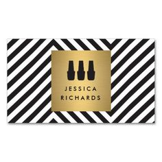 Nail Polish Trio Logo on Retro Black/White Pattern Double-Sided Standard Business Cards (Pack Of 100)