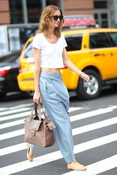 white crop top and denim pants say nuthin but hammer time. #AlanaZimmer #offduty